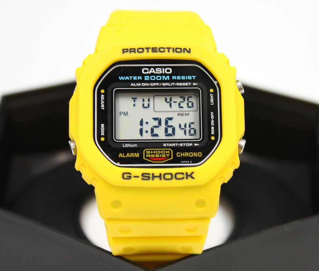 G-SHOCK DW-5600C-9B イエロー スクリューバック